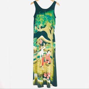 Citron Of Santa Monica Asian Print Silk Maxi Dress